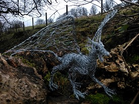 Baby Dragon in galvanised steel with glass eyes