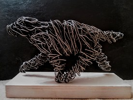 Bearded Collie in galvanised steel on wooden base, 19cm long