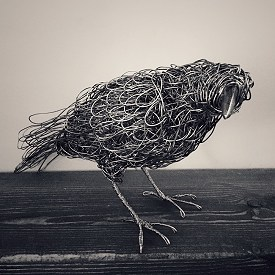 A life sized crow made from stainless steel wire. This piece flew to California