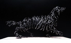 Dachshund - Galvanised steel on wooden base, 19cm long