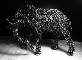 African Elephant in galvanised steel wire