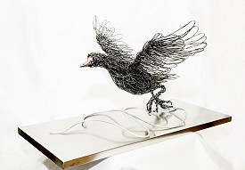 Moorhen Rising - Galvanised steel wire and aluminium set on stainless steel base