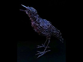 Starling - Life sized galvanised steel wire