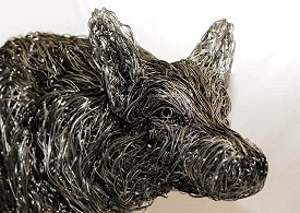 Life sized wolf made from stainless steel wire